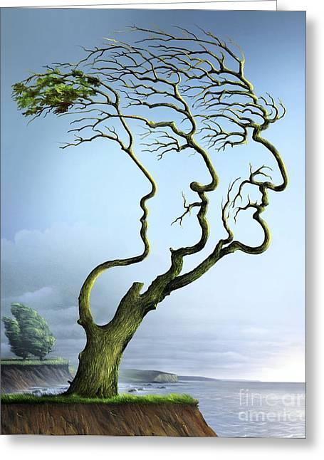 Family Tree, Conceptual Artwork Greeting Card by Wieslaw Smetek
