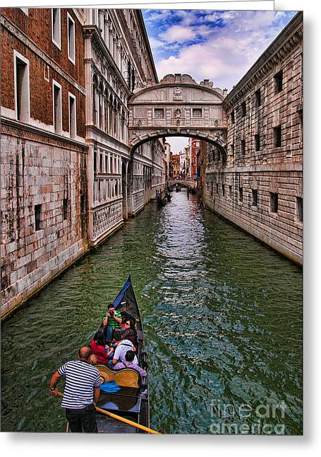 Family Trip Under The Bridge Of Sighs Greeting Card