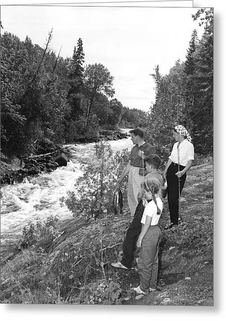 Family Trout Fishing Greeting Card by Underwood Archives