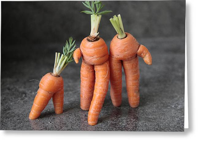 Family Walk - Funny Art - Comic Carrots - Good Luck Energy Print Greeting Card by Alex Khomoutov