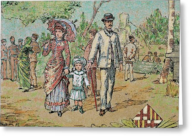 Family Walking Barcelona, Catalonia Greeting Card