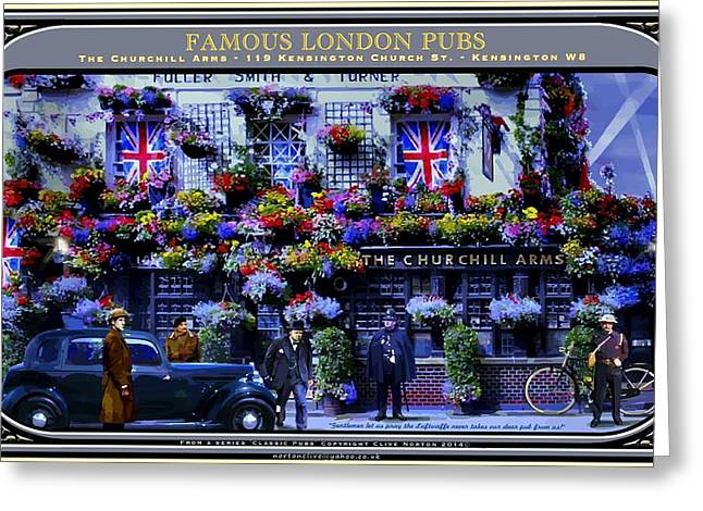 Famous London Pubs Greeting Card by Clive Norton