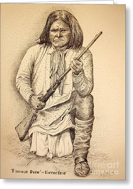 Famous Pose - Geronimo Greeting Card by Marilyn Smith