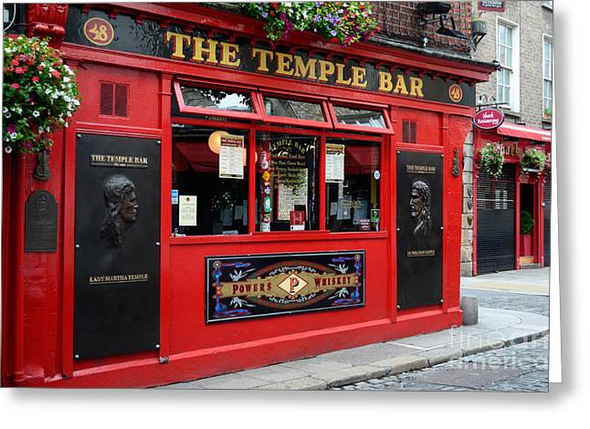 Famous Temple Bar In Dublin Greeting Card by IPics Photography