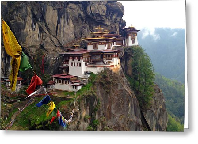 Famous Tigers Nest Monastery Of Bhutan 10 Greeting Card
