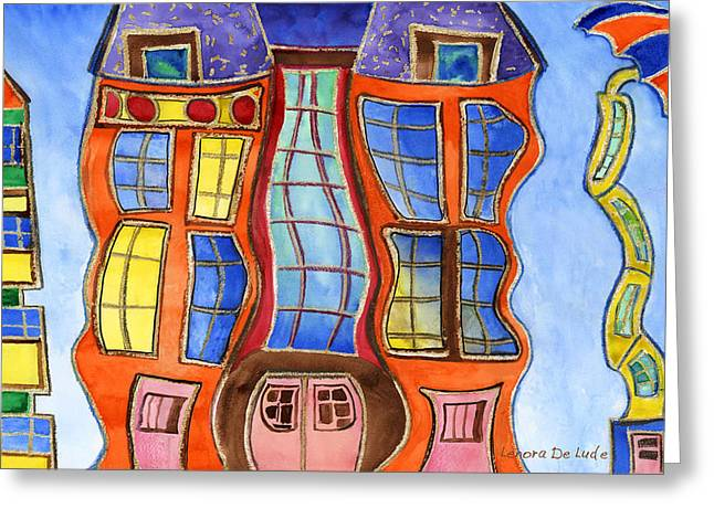 Greeting Card featuring the painting Fanciful Wavy House Painting by Lenora  De Lude