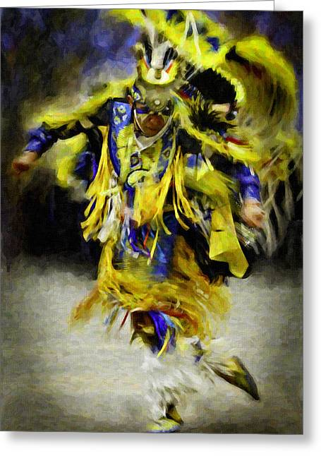 Fancy Dancer In Yellow Greeting Card by F Leblanc