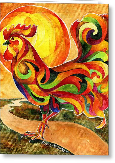 Fancy Feathers Rooster Greeting Card