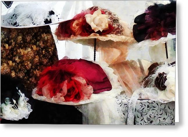 Fancy Hats Greeting Card by Susan Savad