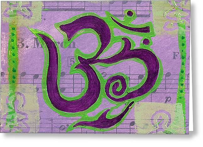 Fancy Om Whisper Buddhas Greeting Card by Jennifer Mazzucco