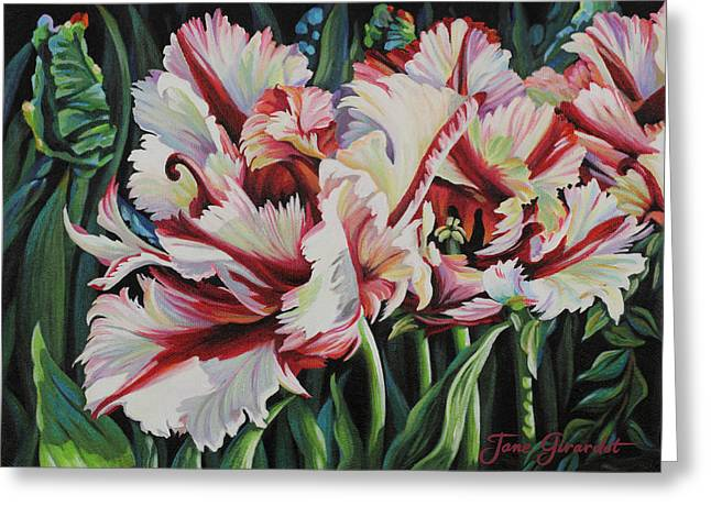 Greeting Card featuring the painting Fancy Parrot Tulips by Jane Girardot