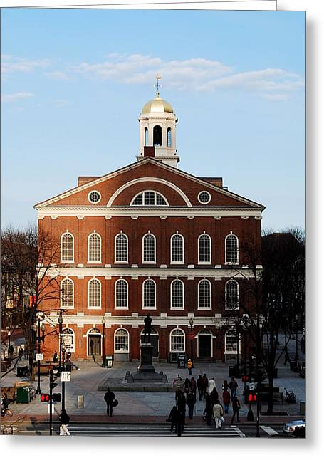 Greeting Card featuring the photograph Faneuil Hall At Sunset by Caroline Stella