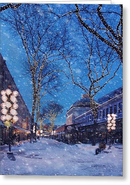 Faneuil Hall Winter Snow - Boston Greeting Card by Joann Vitali