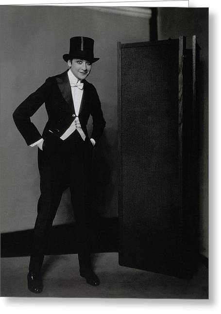 Fanny Brice Wearing A Tuxedo Greeting Card by Edward Steichen