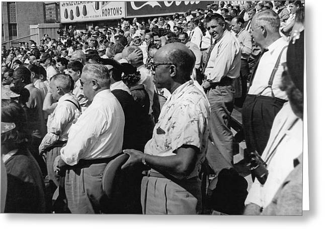 Fans At Yankee Stadium Stand For The National Anthem At The Star Greeting Card