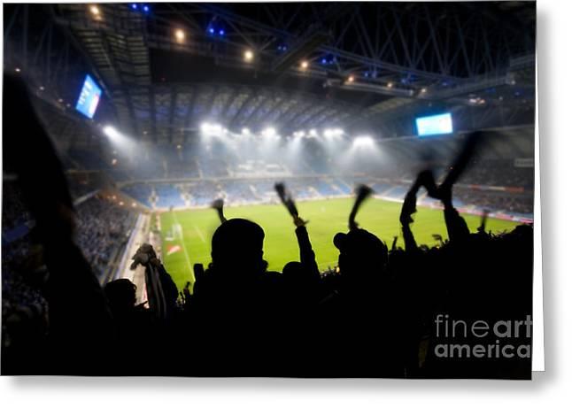 Fans Celebrating Goal Greeting Card by Michal Bednarek