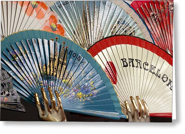 Fans For Sale In Souvenir Shop Greeting Card by Panoramic Images