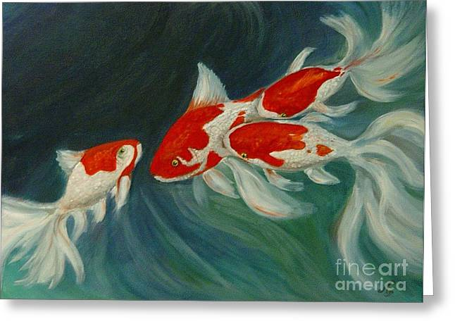 Fantail Koi Greeting Card by Nancy Bradley