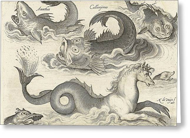 Fantastic Invertebrates, Including A Seahorse Greeting Card by Nicolaes De Bruyn