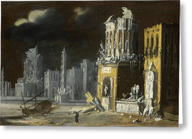 Fantastic Ruins With Saint Augustine And The Child Greeting Card