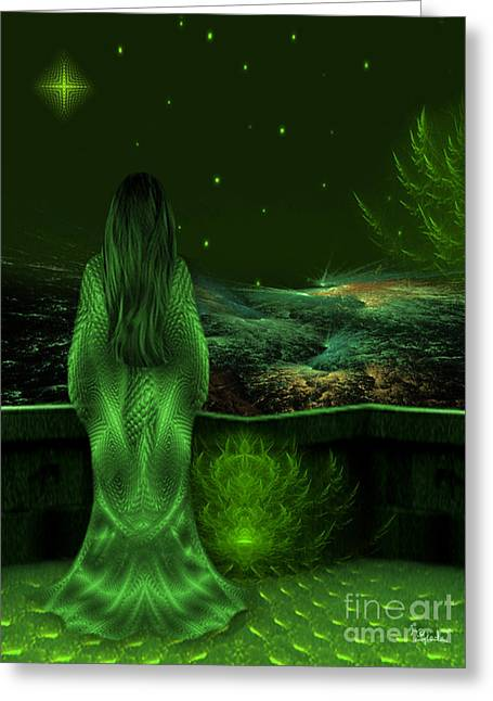 Fantasy Art - Wishing Upon A Star In A Green Night  By Rgiada  Greeting Card