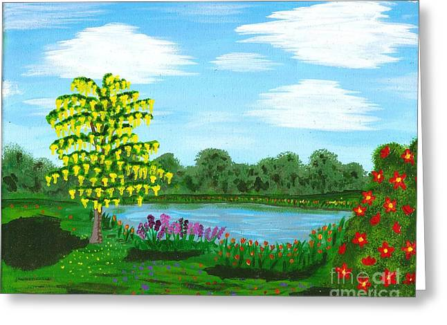 Fantasy Backyard Greeting Card by Vicki Maheu