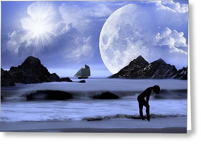 Fantasy Beach Greeting Card by Nina Bradica