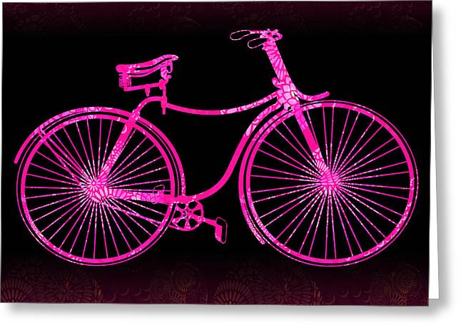 Fantasy Bycicle - Extreme Pink Greeting Card by Andrea Ribeiro