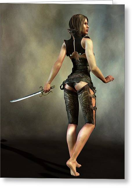 Greeting Card featuring the digital art Fantasy Female Assassin by Kaylee Mason