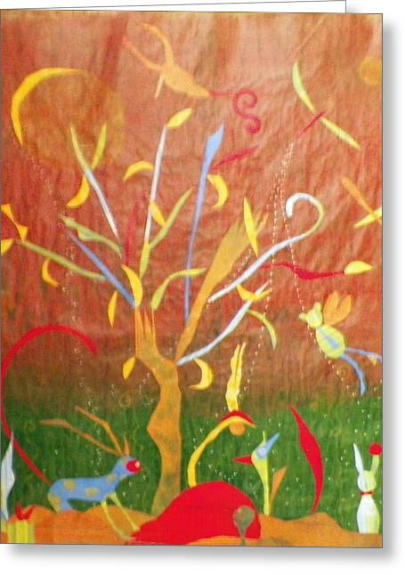 Fantasy Forest Greeting Card by Linnie Greenberg