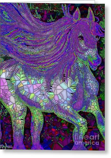 Fantasy Horse Purple Mosaic Greeting Card by Saundra Myles