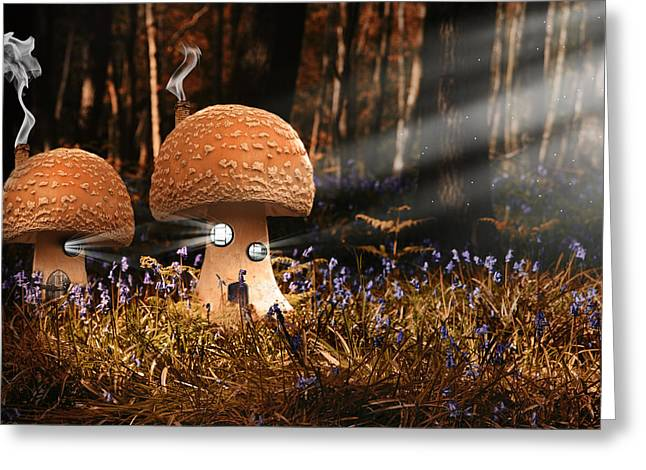 Fantasy Image Of Toadstool Houses In Bluebell Woods Greeting Card by Matthew Gibson