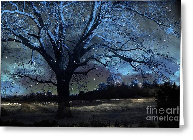 Fantasy Blue Nature Fairy Lights Photography - Blue Starry Surreal Gothic Fantasy Trees And Stars Greeting Card