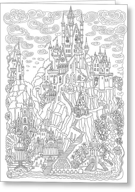 Fantasy Landscape. Fairy Tale Castle On Greeting Card