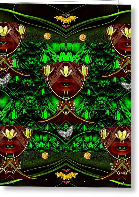 Fantasy Leather Heads In A Scenery Greeting Card
