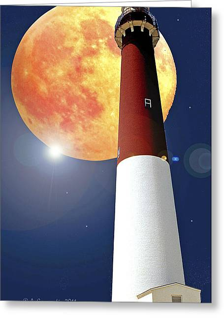 Fantasy Lighthouse And Full Moon Poster Image Greeting Card by A Gurmankin