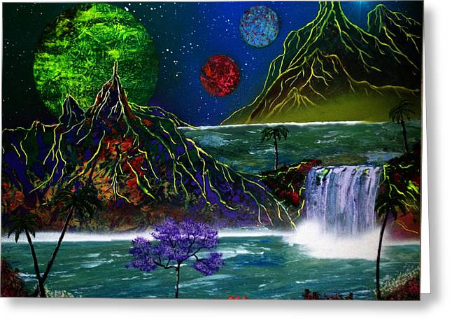 Fantasy Planets Greeting Card by Michael Rucker