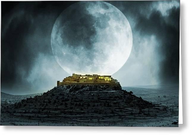 Fantasy Stronghold Greeting Card by Jaroslaw Grudzinski