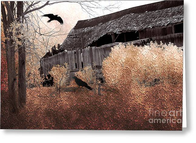 Fantasy Surreal Gothic Old Barn Scene With Birds And Ravens Greeting Card by Kathy Fornal