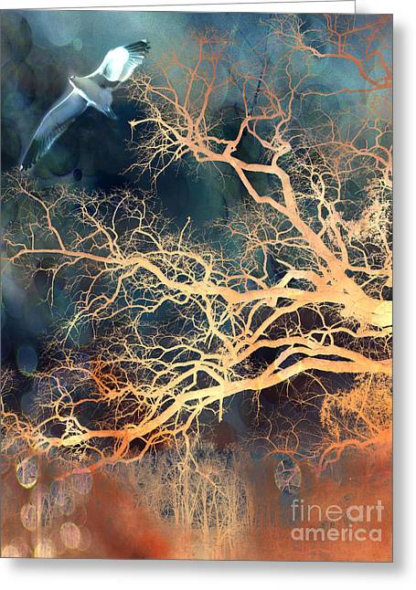 Fantasy Surreal Trees And Seagull Flying Greeting Card by Kathy Fornal