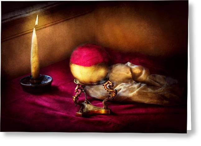 Fantasy - The Crystal Ball Greeting Card by Mike Savad