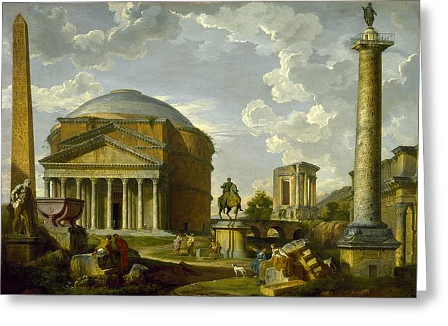 Fantasy View With The Pantheon And Other Monuments Of Ancient Rome Greeting Card