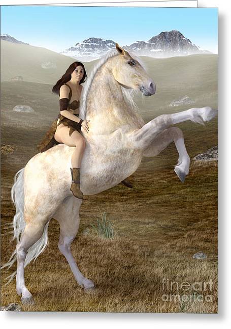 Fantasy Woman On Rearing Horse Greeting Card