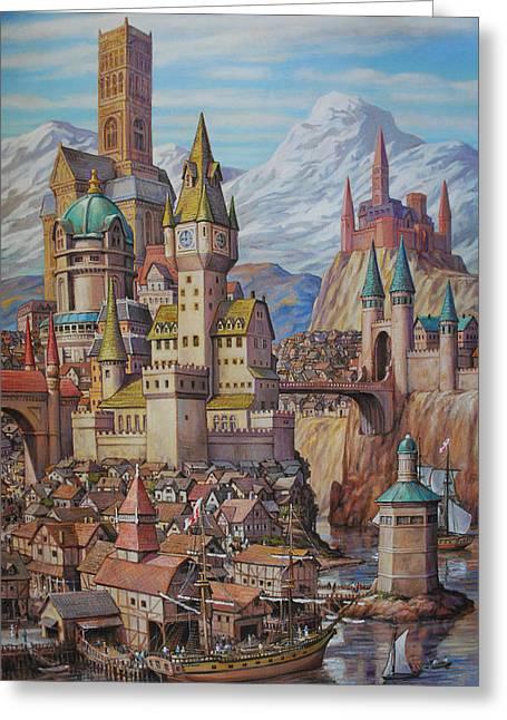 Fantasy World Greeting Card by Henry David Potwin
