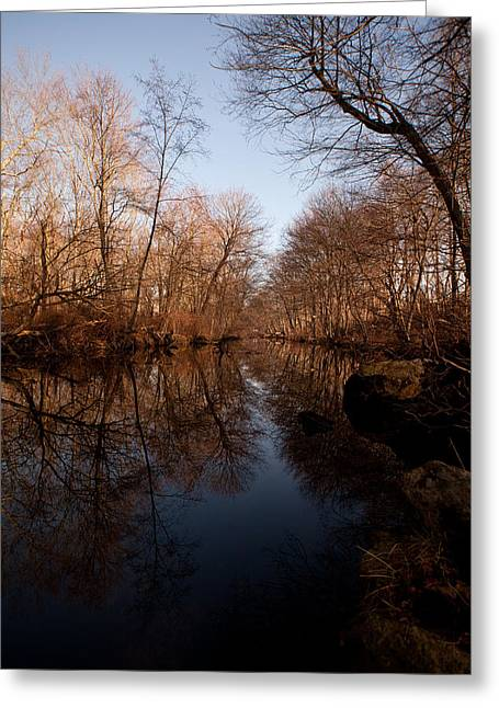 Far Mill River Reflects Greeting Card by Karol Livote