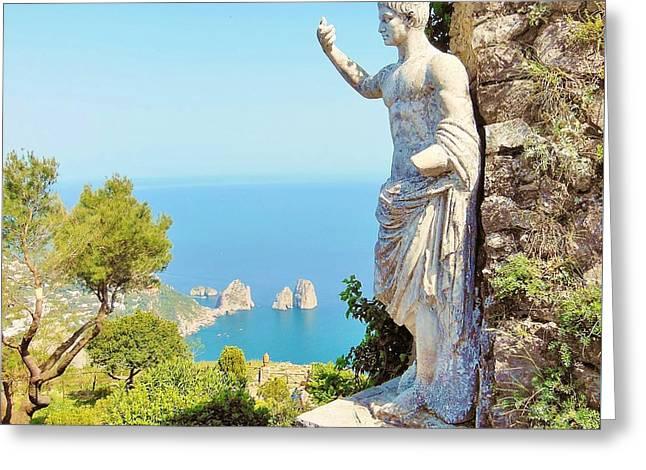 Faraglioni Rocks From Mt Solaro Capri Greeting Card