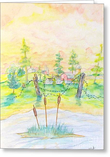 Farm And Fence With Cattails Greeting Card
