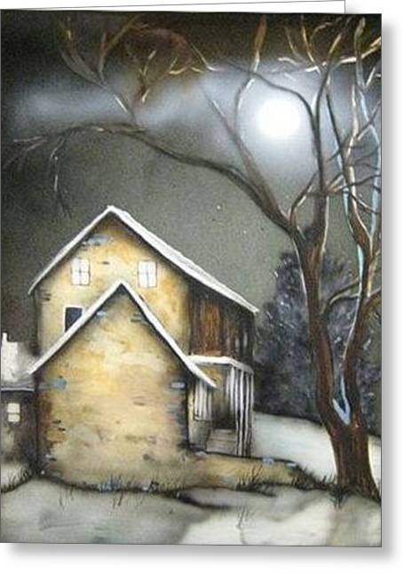 Farm At Night Greeting Card by Kendra Sorum