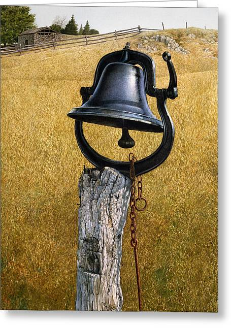 Greeting Card featuring the painting Farm Bell by Tom Wooldridge