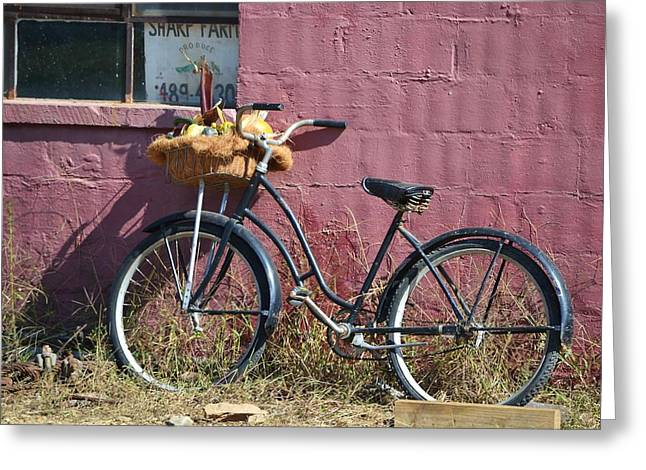 Farm Bicycle Greeting Card by Mary Zeman